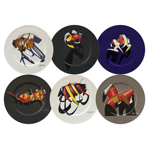 Ribbons Series Plate - Set of 6
